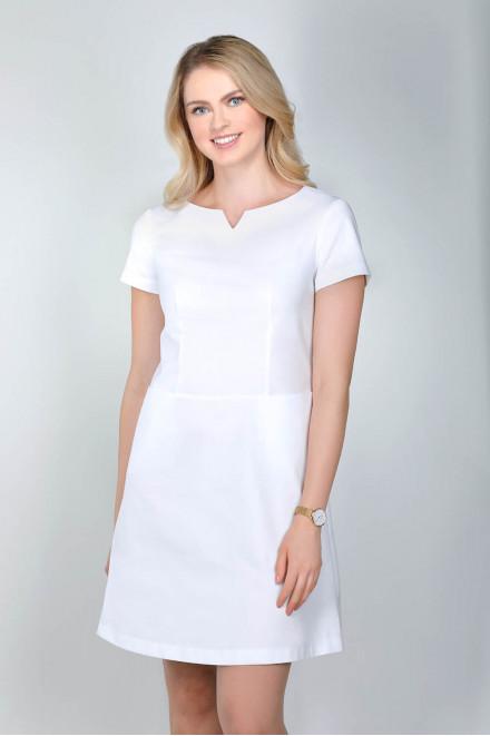Sukienka medyczna 0206 biała K1, zamek z tyłu