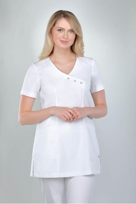 Bluza medyczna damska biała z ozdobnymi perłowymi napami 1811 K1