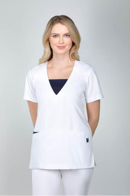 Bluza medyczna damska biała z granatowymi wstawkami 1811 K1/W14