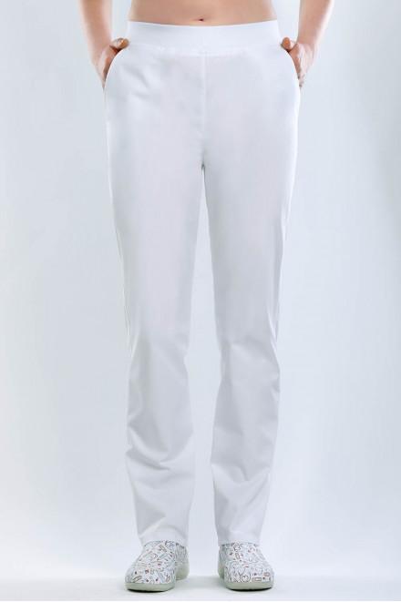 Spodnie medyczne białe K1 o prostych nogawkach