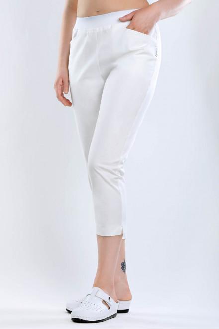 """Spodnie medyczne białe rurki """"rybaczki"""" K1"""