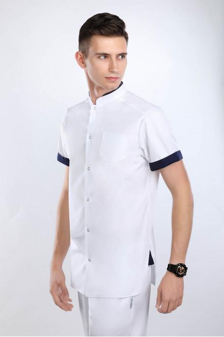 Koszula medyczna męska 3018 K1/W14 biała z granatowymi wstawkami