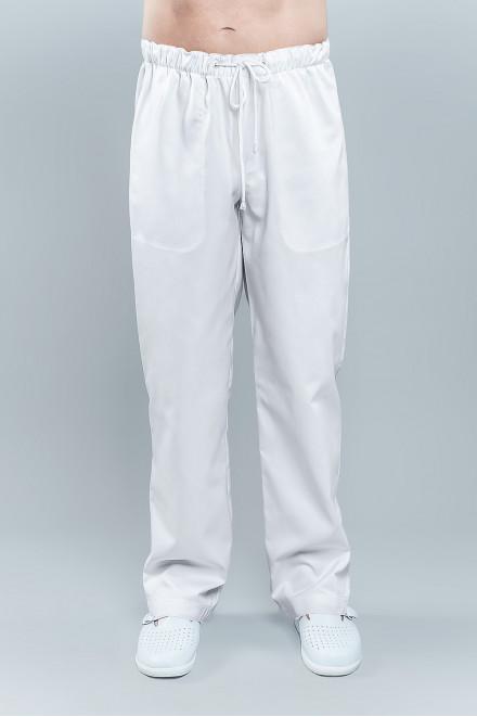 Spodnie medyczne męskie 6023 w kolorze białym K1, na gumie w pasie